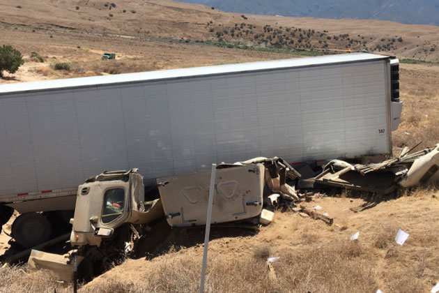 Two people were seriously injured Thursday afternoon when a semi truck and trailer overturned and crashed off Highway 166 east of Santa Maria.