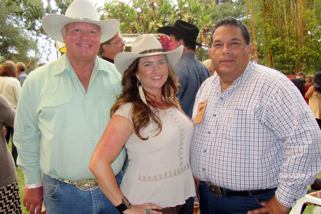 Event committee members Steve Golis, left, Michelle Bischoff and Alex Castellanos at Fiesta Ranchera at the historic Rancho La Patera and Stow House in Goleta.