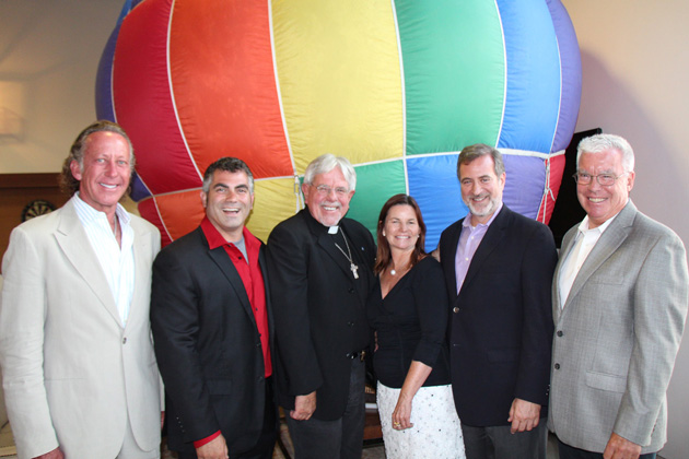 From left, Michael Hammer, honorary event chair; Jason Prystowsky, M.D., MPH, FACEP, medical director of Doctors Without Walls-Santa Barbara Street Medicine; the Rev. Jon-Stephen Hedges, DWW-SBSM vice president; Maria Long, DWW-SBSM executive director; Paul Jaconette, MPH, DWW-SBSM board president; and Chris Lambert, M.D., chair of the Glow in the Park launch party.