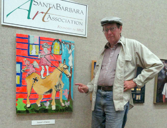 <p>SBCC Center for Lifelong Learning art teacher Bob Mask and his award-winning painting, &#8220;Crusade to Jerusalem.&#8221;</p>