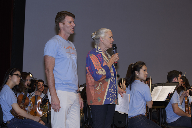 "Music Academy of the West President/CEO Scott Reed and Montecito Bank & Trust President/CEO Janet Garufis introduce the ""Up Close and Musical"" program to the children in the audience."