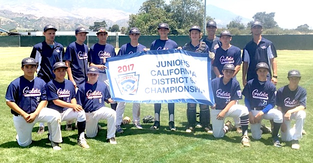 The Goleta Valley South District 63 Championship Junior All-Star team includes: Andre Castillo, Tyler Dutcher,  Vince Gamberdella, Jordan Harris, Aiden Johnson, Forest Johnson, Thomas Kinzler, Gabe Martinez, Isaac Medina, Ian Oakley, Sam Russell, and Will Trautwein. The coaches are Todd Oakley, Al Karis, James Kinzler and Chuy Martinez.