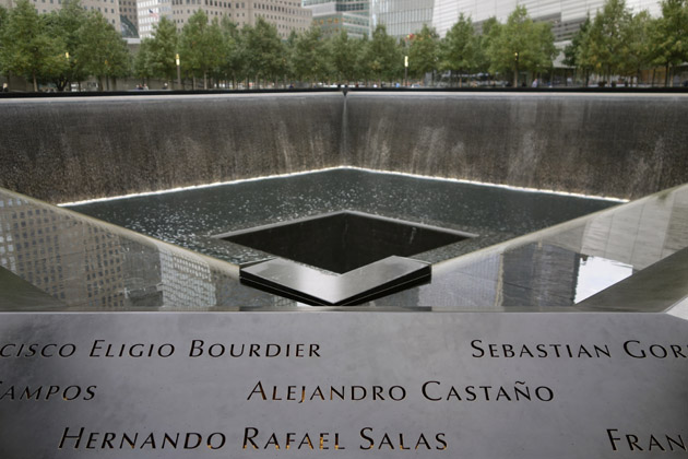 The 9/11 Memorial in New York City was designed by Israeli architects Michael Arad and Peter Walker. Enormous waterfalls, ringed by bronze railing upon which the names of every victim is inscribed, fall into nothingness, symbolizing the loss of life.