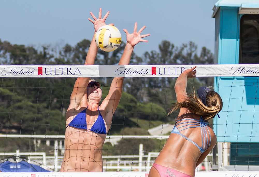 Kathryn Plummer blocks a ball hit by Sammy Slater during the finals of the Santa Barbara Women's Open at East Beach.