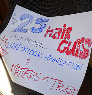 The salon discounted stylists' haircuts to $25 Sunday in the benefit cut-a-thon for Surfrider and Matter of Trust.