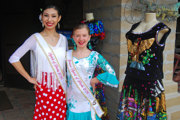 The 2016 Spirit of Fiesta Alexis Simentales, left, and Junior Spirit Sarah Naretto celebrate the kickoff of Old Spanish Days outside the Carriage and Western Art Museum in Santa Barbara on Wednesday.