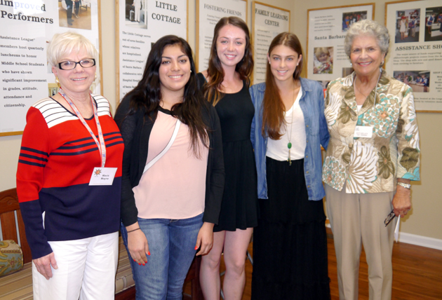 <p>Assistance League of Santa Barbara President Mavis Mayne, left, and scholarship chairwoman Dot Kelley, right, with scholarship recipients Julie Flores of Carpinteria High School, Jamie Elster of San Marcos High School and Maddison Blakely of Santa Barbara High School.</p>