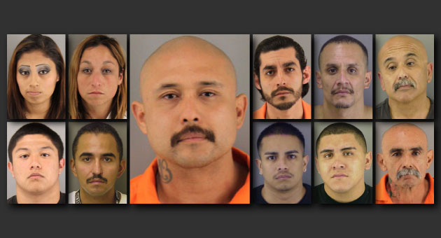 "<p>Ramon ""Crazy Ray"" Maldonado, center, is a known Santa Maria North West gang member and is a primary suspect in the gruesome torture-murder of fellow gang member Anthony Ibarra. Also charged in the case are, clockwise from top left, Verenisa &#8220;Veri&#8221; Aviles, Carmen Cardenas, Jason Castillo, Reyes ""Pumpkin"" Gonzalez, David ""Pops"" Maldonado, Pedro Torres Jr., Robert ""Tito"" Sosa, Anthony &#8220;A.J.&#8221; Solis, Santos ""Little Tuffy"" Sauceda and Ramon ""Little Ray"" Maldonado Jr.</p>"
