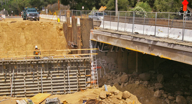<p>Road work, such as construction on a new bridge on Cathedral Oaks Road near Goleta, above, makes up a big part of Santa Barbara County&#8217;s backlog in maintenance. Measure M, which was defeated by voters in June, would have required the county to keep its facilities from deteriorating further.</p>