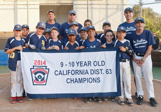 <p>The Dos Pueblos Little League 10-year-old all-stars celebrate their district championship win Monday night.</p>