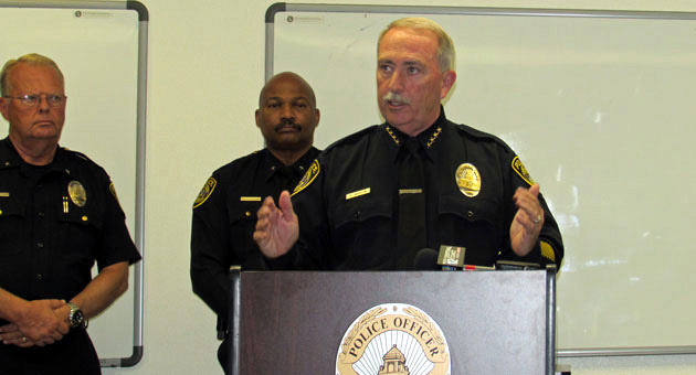 <p>Santa Maria Police Chief Ralph Martin talks about crime statistics for 2013 on Wednesday as his department&#8217;s top supervisors stand behind him.</p>