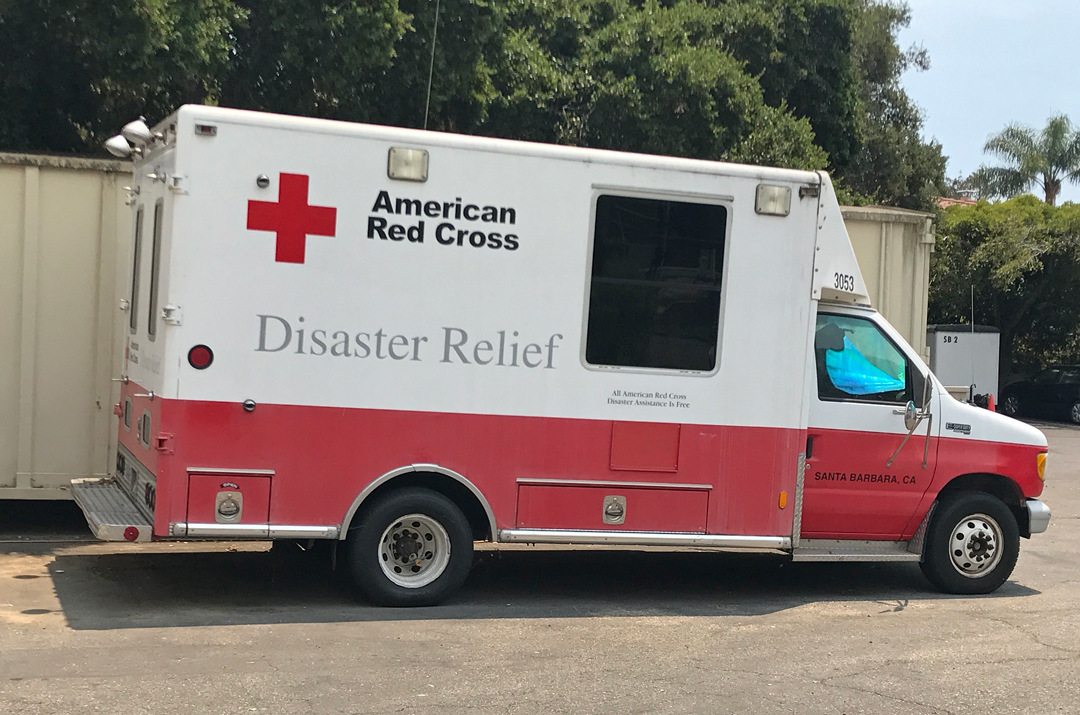The Pacific Coast chapter of the Red Cross has disaster relief vehicles available for incidents small and large