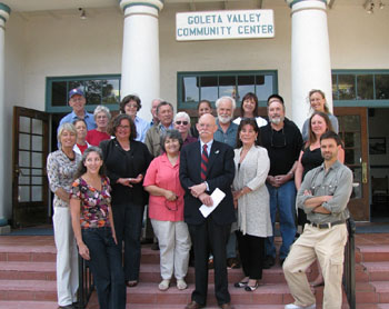 City and county officials as well as many Goleta residents were in attendance Wednesday as Mayor Ed Easton launched his re-election campaign. (Giana Magnoli / Noozhawk photo)
