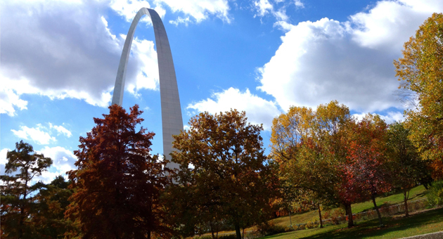 <p>Take the 635-foot ride up to the top of the all-steel Gateway Arch for a bird's-eye view of St. Louis, Mo.</p>