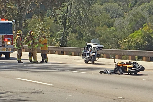 A motorcyclist suffered fatal injuries after a three-vehicle collision on Highway 101 in Santa Barbara Monday afternoon.