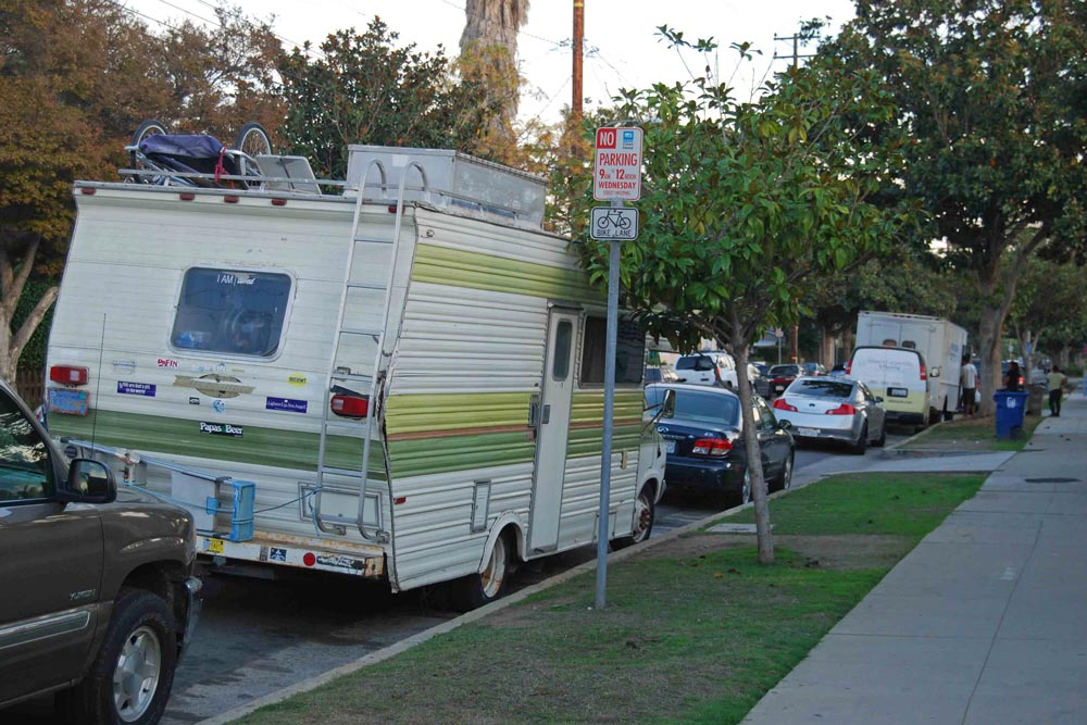 A RV parks near the Castillo and Sola streets intersection Monday afternoon.