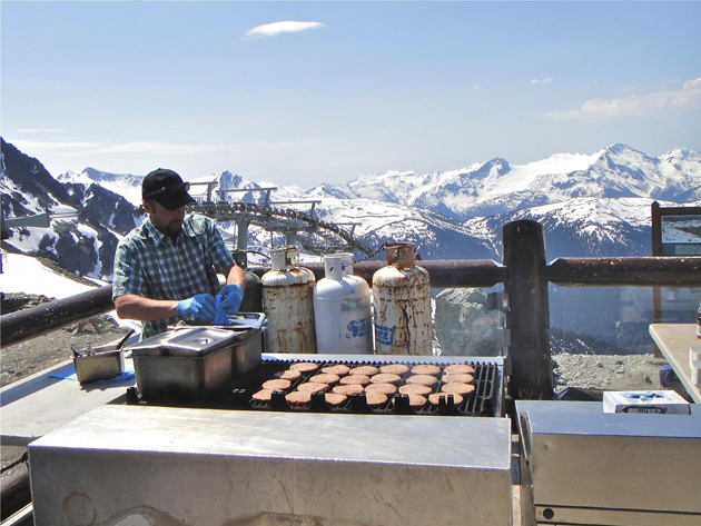 Burgers barbecued at the top of the mountain.