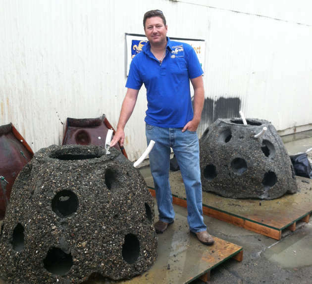 <p>Chris Goldblatt with the Fish Reef Project&#8217;s reef balls, which help restore imperiled species, take pressure of natural reefs, provide study and offer fishing opportunities for all.</p>