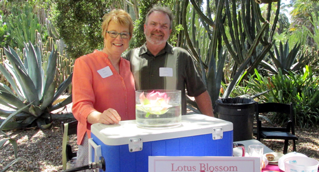 <p>Brewmaster Pete Johnson of The Brewhouse and wife Jean created a special lotus-infused beer for LotusFest, held Saturday at Lotusland.</p>
