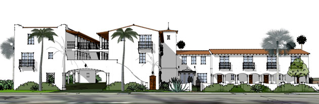 An artist's rendition shows what a three-story hotel proposed for 116 Castillo St. in Santa Barbara. The project drew praise Thursday from the city Planning Commission.