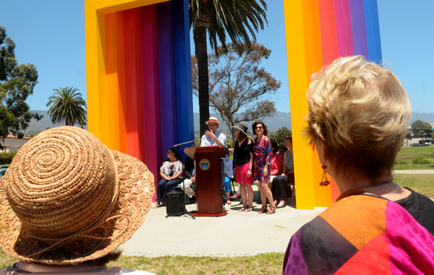 The refurbished Chromatic Gate sculpture near Santa Barbara's waterfront was officially unveiled during a ceremony Monday.