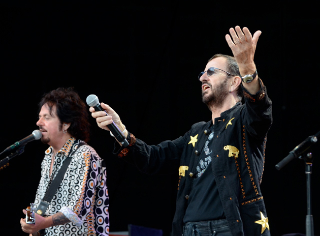 Former Beatle Ringo Starr greets the crowd during Saturday night's concert with his All Starr Band at the Santa Barbara Bowl.