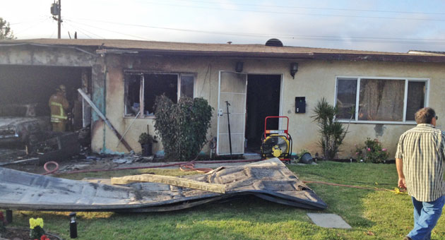 <p>Two residents were displaced Tuesday evening after a fire broke out at this Santa Maria home.</p>