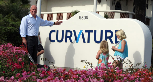 <p>Curvature President/CEO Mike Sheldon was surrounded by his children as he unveiled the company&#8217;s new sign and brand at its 6500 Hollister Ave. headquarters in Goleta.</p>