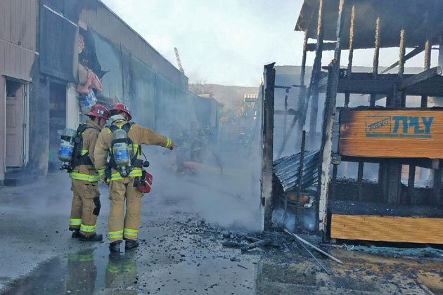 Santa Barbara County firefighters responded Saturday evening to a fire at Channel City Lumber and Hardware in Goleta.