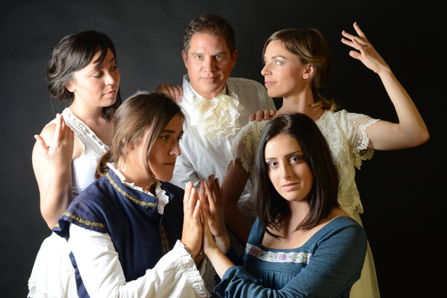 <p>From left, Stephanie Farnum, Tess Plant-Thomas, Rob Grayson, Erika Leachman (above) and Morgan Altenhoff (below) star in Elements Theatre Collective&#8217;s production of <em>Orlando</em>.</p>