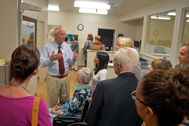 Dr. Charles Fenzi, chief medical officer for the Santa Barbara Neighborhood Clinics, gives a tour Friday of the newly opened primary care facility at 5580 Calle Real in Goleta.