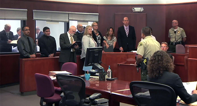 <p>Attorneys crowd into a Santa Maria courtroom Thursday for the Anthony Ibarra murder trail. Court officials are looking for a larger venue for the trail, which has 11 defendants.</p>