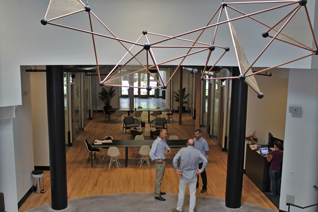 Impact Hub Santa Barbara at 1117 State St. has three floors of personal work spaces, offices, conference rooms and a tech lounge, and a restaurant and bar is in the works.