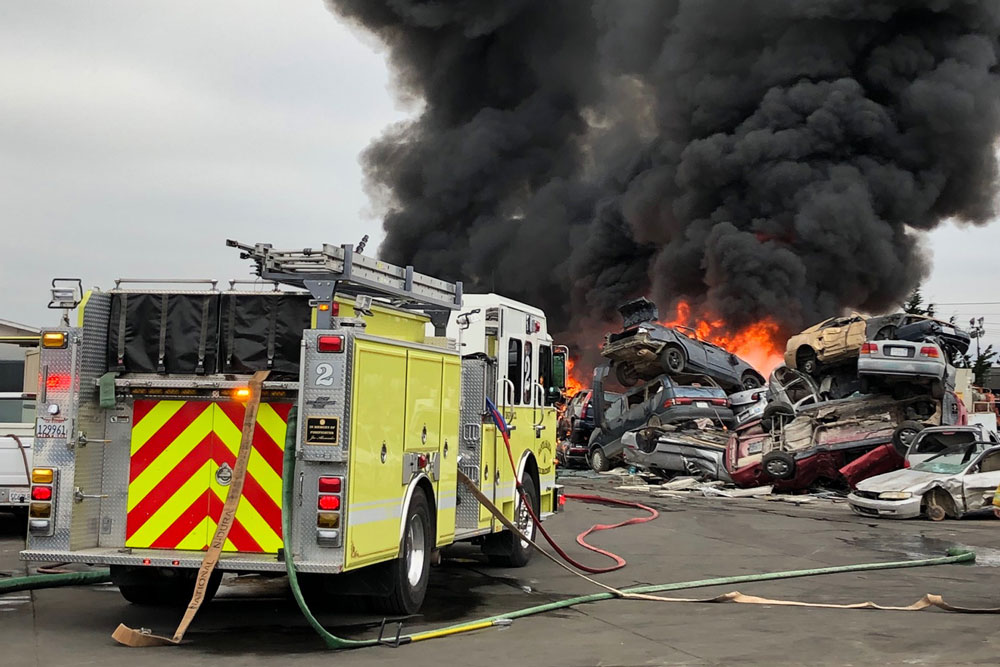 Some 50 vehicles were destroyed last weekend in a fire at SA Recycling in Santa Maria.