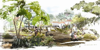 A rendering depicts the proposed after look for the paved pathway between Santa Barbara Natural History Museum buildings and Mission Creek.