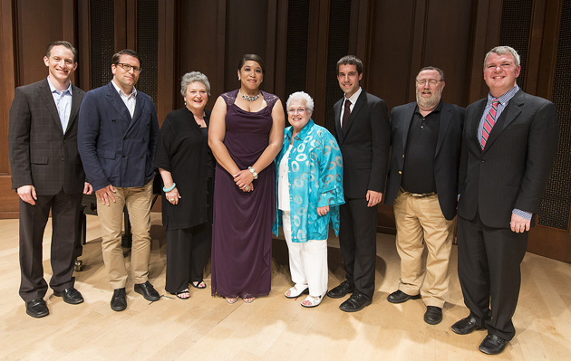 <p>From left, Jeremy Geffen, Alexander Neef, Barbara Hocher, Michelle Bradley, Marilyn Horne, Michael Gaertner, Matthew Epstein and Craig Terry.</p>