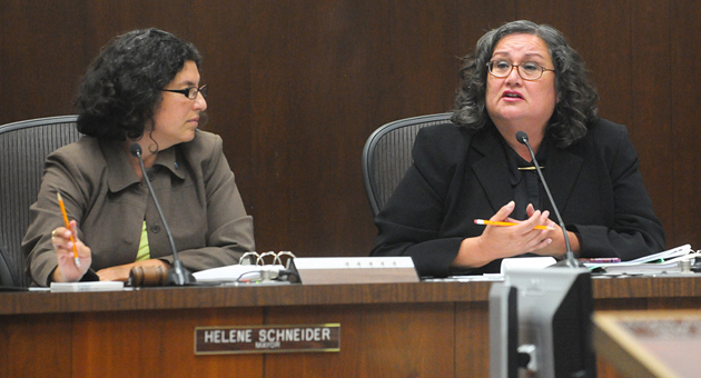 <p>Santa Barbara Councilwoman Cathy Murillo, right, with Mayor Helene Schneider sitting nearby, speaks during Thursday&#8217;s council meeting, stating she resents that the city is facing a lawsuit over district elections.</p>