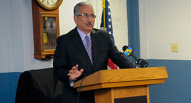 <p>Santa Barbara Police Chief Cam Sanchez says he&#8217;s ready to move on after a judge ruled Tuesday that she will not grant a petition to put a gang injunction in place across the city. Sanchez is pictured here last November at a press conference to tout the department&#8217;s crackdown on gang members and affiliates in Operation Falling Dawn.</p>