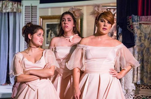<p>From left, Allison Lewis Towbes, Leah Victoria Bleich and Marisol Miller-Wave star in <em>Five Women Wearing the Same Dress</em> at the Plaza Playhouse Theater in Carpinteria.</p>