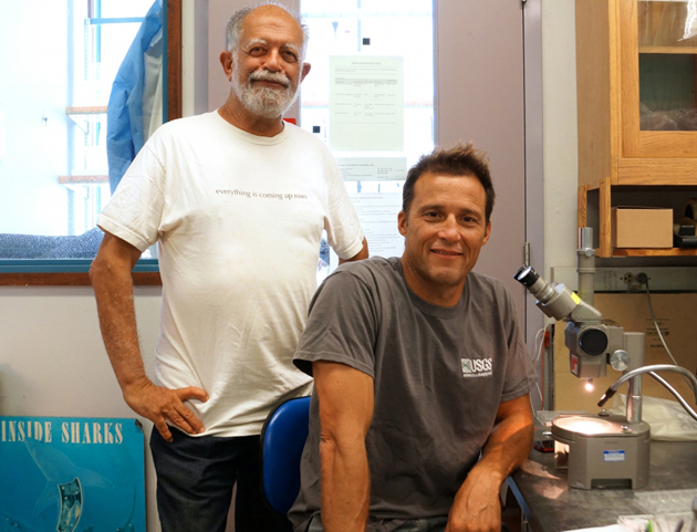 <p>Lead author Armand Kuris, left, a professor in UCSB's Department of Ecology, Evolution and Marine Biology, and co-author Kevin Lafferty, adjunct faculty in EEMB and a marine ecologist with the Western Ecological Research Center of the U.S. Geological Survey.</p>