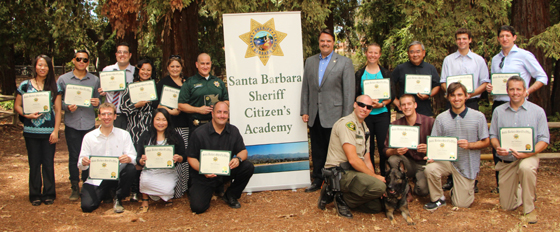 <p>Santa Barbara County Sheriff Bill Brown, center, presented certificates on Saturday to the 16 graduates of the Sheriff's Citizen&#8217;s Academy.</p>