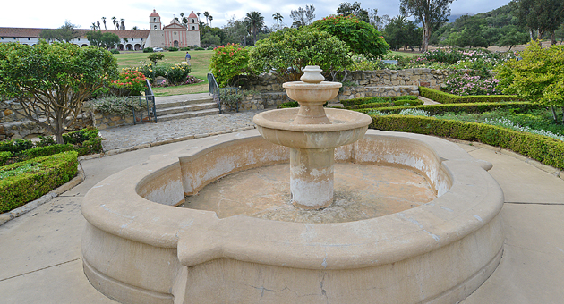 <p>Fountains have been going dry throughout Santa Barbara during the drought, including the one at the A.C. Postel Rose Garden across the street from the Santa Barbara Mission.</p>