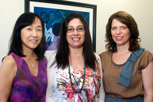 Yukari Okamoto, left, Laura Romo and and Julia Bianchini, faculty members in UCSB's Department of Education, have received a $1.2 million Science Education Partnership Award from the National Institutes of Health to design and implement a preschool biology curriculum for low-income Latino children. (Rod Rolle photo)
