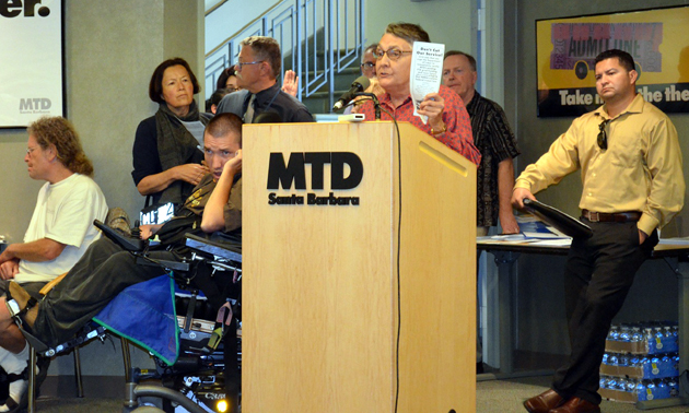 <p>Santa Barbara resident Hathor Hammett urges the Metropolitan Transit District board not to cut the Crosstown Shuttle, which serves Westside, downtown and Eastside neighborhoods, during Wednesday night&#8217;s meeting to discuss proposals for reducing services 30 percent by January if federal funding doesn&#8217;t materialize.</p>