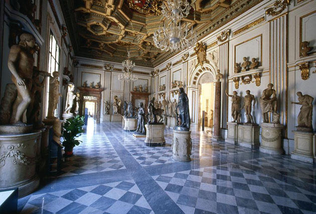 <p>View of the Main Hall of the Capitoline Museum in Rome.</p>
