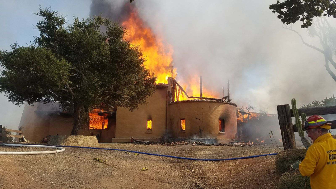 2 Alarm Structure Fire On Refugio Road Sparks Small Vegetation Fire