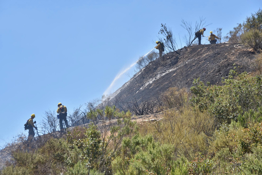 The Summit Fire blackened 4 acres along Highway 101 on the Nojoqui Grade Friday morning, south of Buellton.