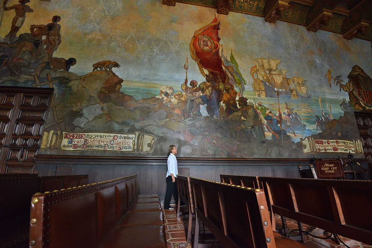 From a distance or up close, the Mural Room's murals are grandly impressive.