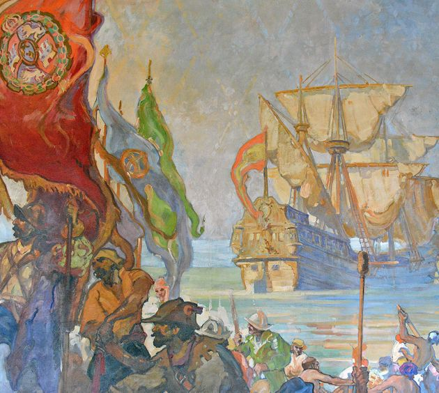 Several murals include examples of artistic license. Here, the landing of the Cabrillo party is depicted, but the ships are facing away with no anchors dropped and under full sails.