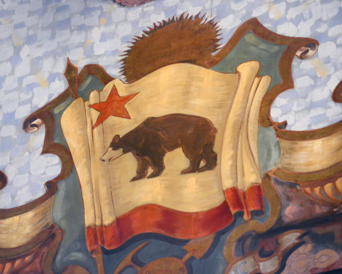 For some reason, the grizzly bear on the California flag is depicted with a white face.